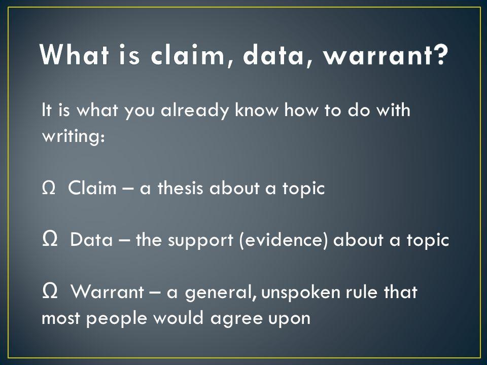 Ω A claim is made.Ω Evidence is produced in the form of logical facts.
