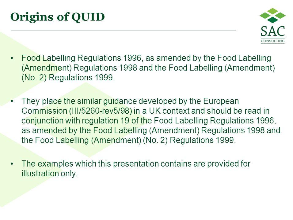 22 Origins of QUID Food Labelling Regulations 1996, as amended by the Food Labelling (Amendment) Regulations 1998 and the Food Labelling (Amendment) (