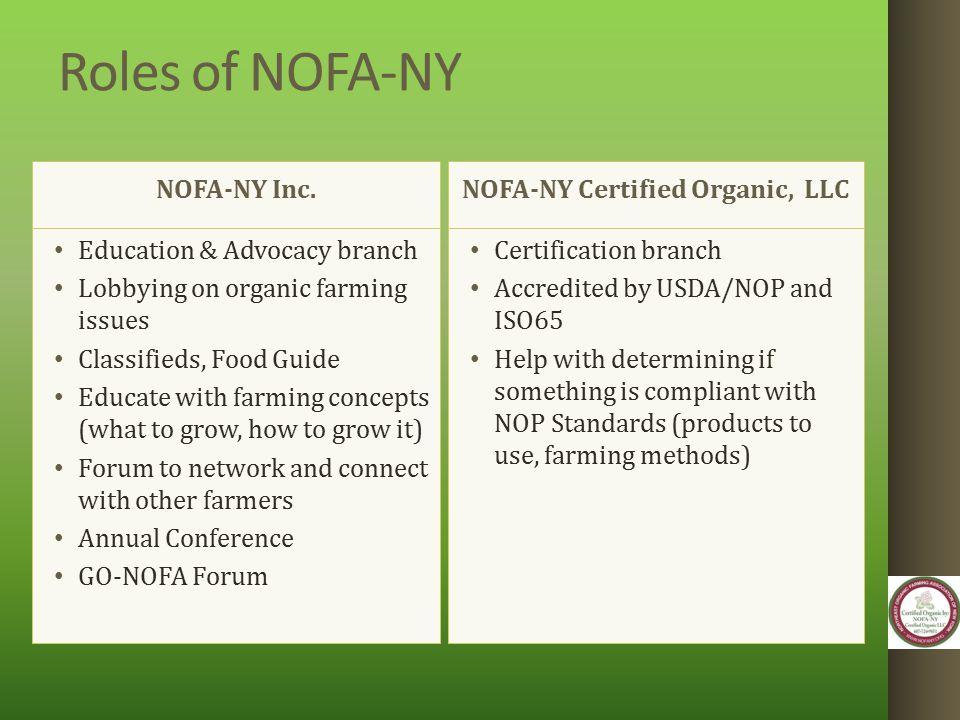 Roles of NOFA-NY NOFA-NY Inc.