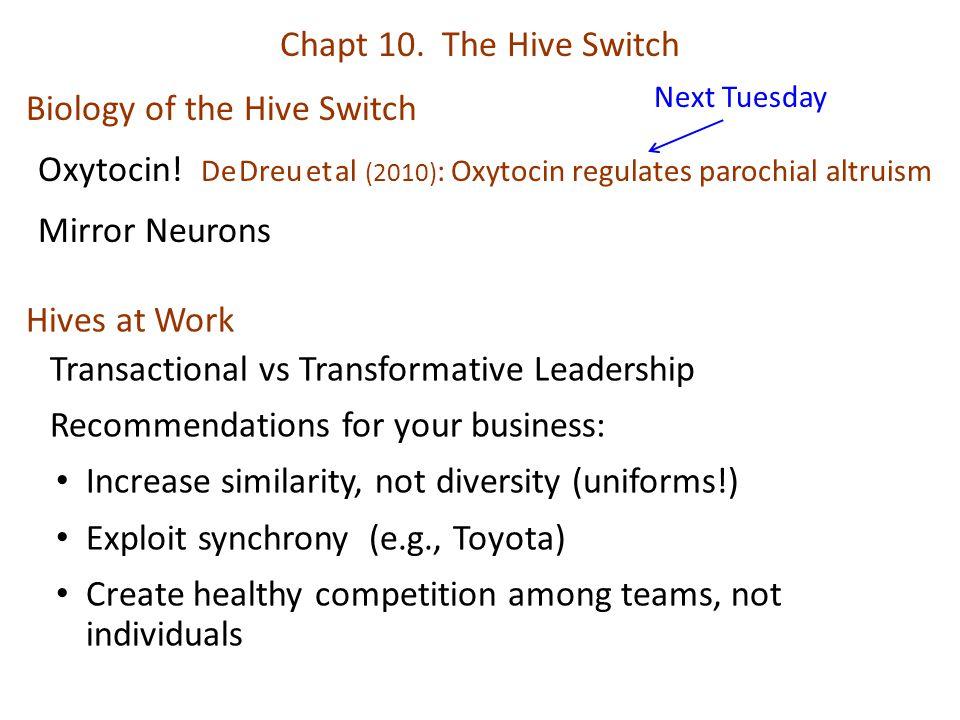 Chapt 10. The Hive Switch Biology of the Hive Switch Oxytocin! De Dreu et al (2010) : Oxytocin regulates parochial altruism Mirror Neurons Hives at Wo