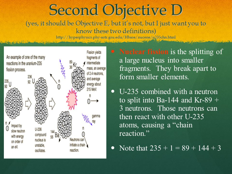 Second Objective D (yes, it should be Objective E, but it's not, but I just want you to know these two definitions) http://hyperphysics.phy-astr.gsu.edu/Hbase/nucene/u235chn.html Nuclear fission is the splitting of a large nucleus into smaller fragments.