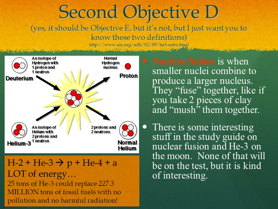 Second Objective D (yes, it should be Objective E, but it's not, but I just want you to know these two definitions) http://www.asi.org/adb/02/09/he3-intro.html Nuclear fusion is when smaller nuclei combine to produce a larger nucleus.