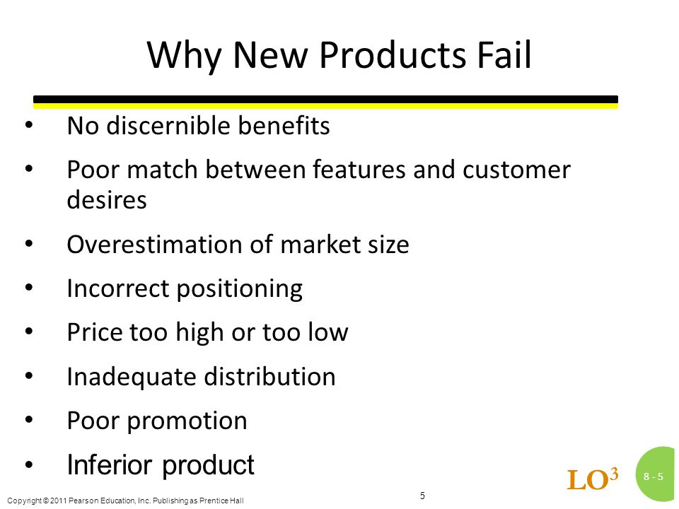 8 -5 Copyright © 2011 Pearson Education, Inc. Publishing as Prentice Hall 5 LO 3 Why New Products Fail No discernible benefits Poor match between feat