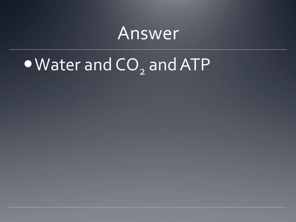 Answer Water and CO 2 and ATP