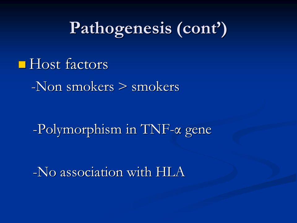 Pathogenesis (cont') Host factors Host factors -Non smokers > smokers -Non smokers > smokers -Polymorphism in TNF-α gene -Polymorphism in TNF-α gene -