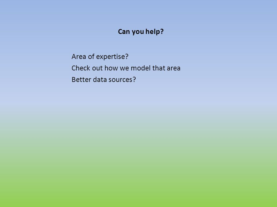 Can you help? Area of expertise? Check out how we model that area Better data sources?