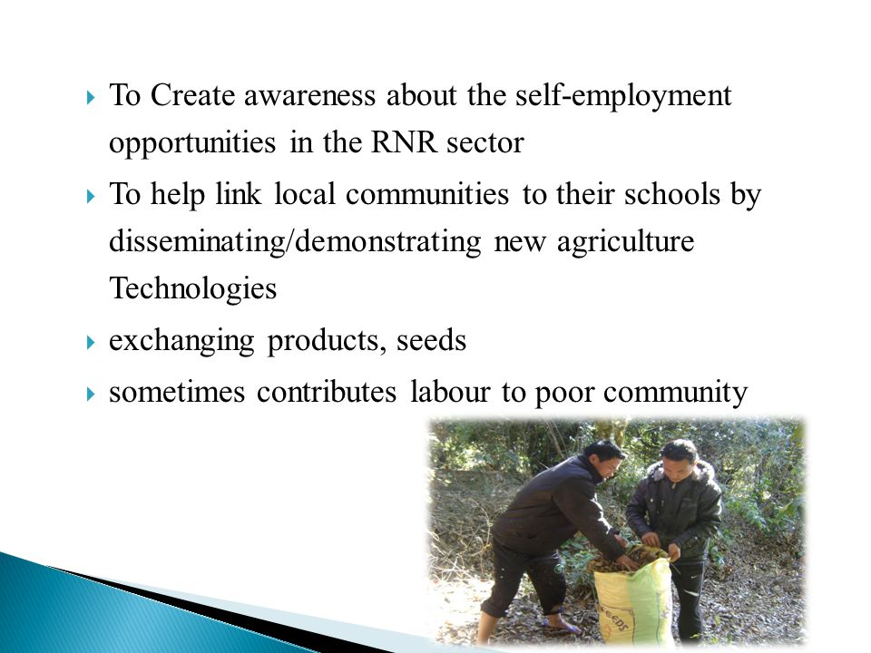CROP CULTIVATION VVegetable gardening MMushroom cultivation FFruit/ Agro forestry plantation FFloriculture