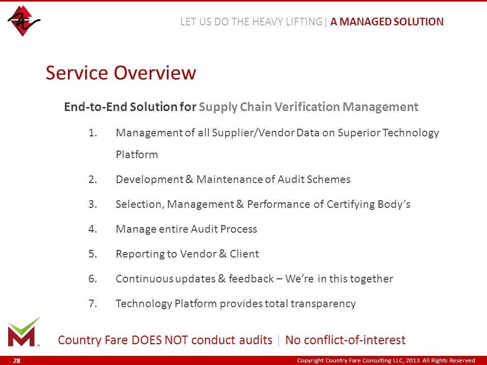 Copyright Country Fare Consulting LLC, 2013 All Rights Reserved End-to-End Solution for Supply Chain Verification Management 1.Management of all Supplier/Vendor Data on Superior Technology Platform 2.Development & Maintenance of Audit Schemes 3.Selection, Management & Performance of Certifying Body's 4.Manage entire Audit Process 5.Reporting to Vendor & Client 6.Continuous updates & feedback – We're in this together 7.Technology Platform provides total transparency Service Overview LET US DO THE HEAVY LIFTING| A MANAGED SOLUTION Country Fare DOES NOT conduct audits | No conflict-of-interest 28