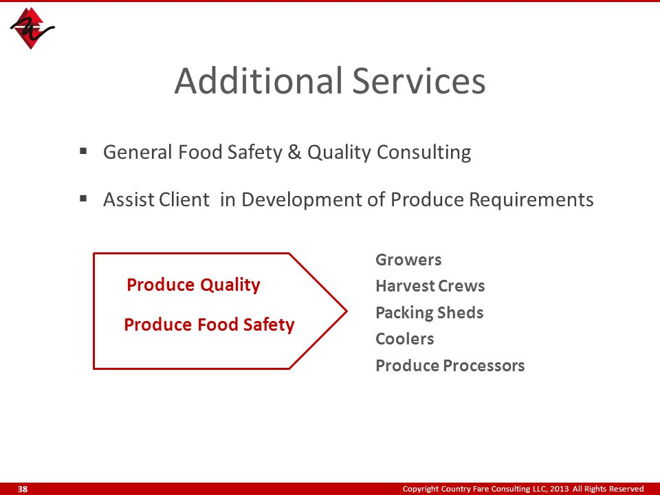 Copyright Country Fare Consulting LLC, 2013 All Rights Reserved Additional Services  General Food Safety & Quality Consulting  Assist Client in Development of Produce Requirements Growers Harvest Crews Packing Sheds Coolers Produce Processors Produce Food Safety Produce Quality 38