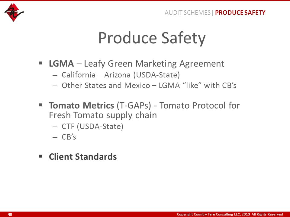 Copyright Country Fare Consulting LLC, 2013 All Rights Reserved Produce Safety  LGMA – Leafy Green Marketing Agreement – California – Arizona (USDA-S