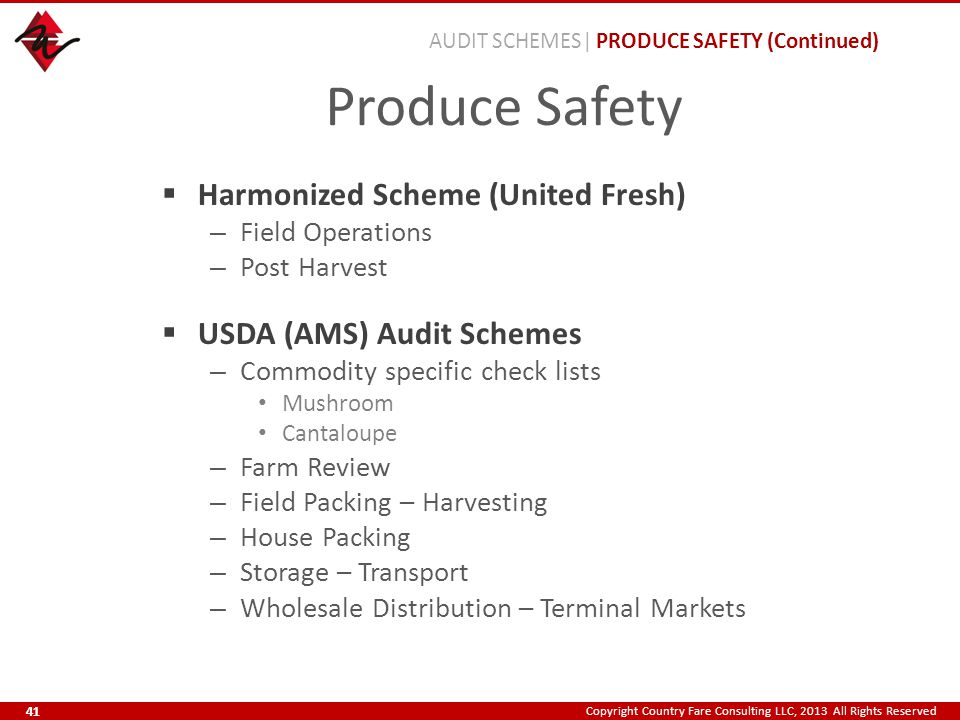 Copyright Country Fare Consulting LLC, 2013 All Rights Reserved Produce Safety  Harmonized Scheme (United Fresh) – Field Operations – Post Harvest  USDA (AMS) Audit Schemes – Commodity specific check lists Mushroom Cantaloupe – Farm Review – Field Packing – Harvesting – House Packing – Storage – Transport – Wholesale Distribution – Terminal Markets AUDIT SCHEMES| PRODUCE SAFETY (Continued) 41