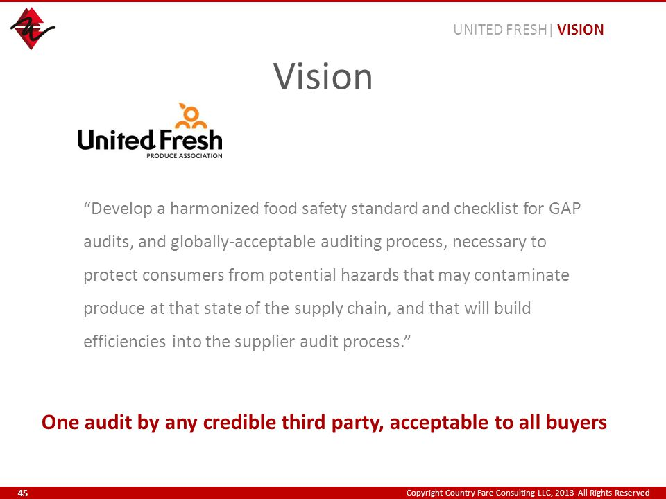 Copyright Country Fare Consulting LLC, 2013 All Rights Reserved Develop a harmonized food safety standard and checklist for GAP audits, and globally-acceptable auditing process, necessary to protect consumers from potential hazards that may contaminate produce at that state of the supply chain, and that will build efficiencies into the supplier audit process. One audit by any credible third party, acceptable to all buyers Vision UNITED FRESH| VISION 45