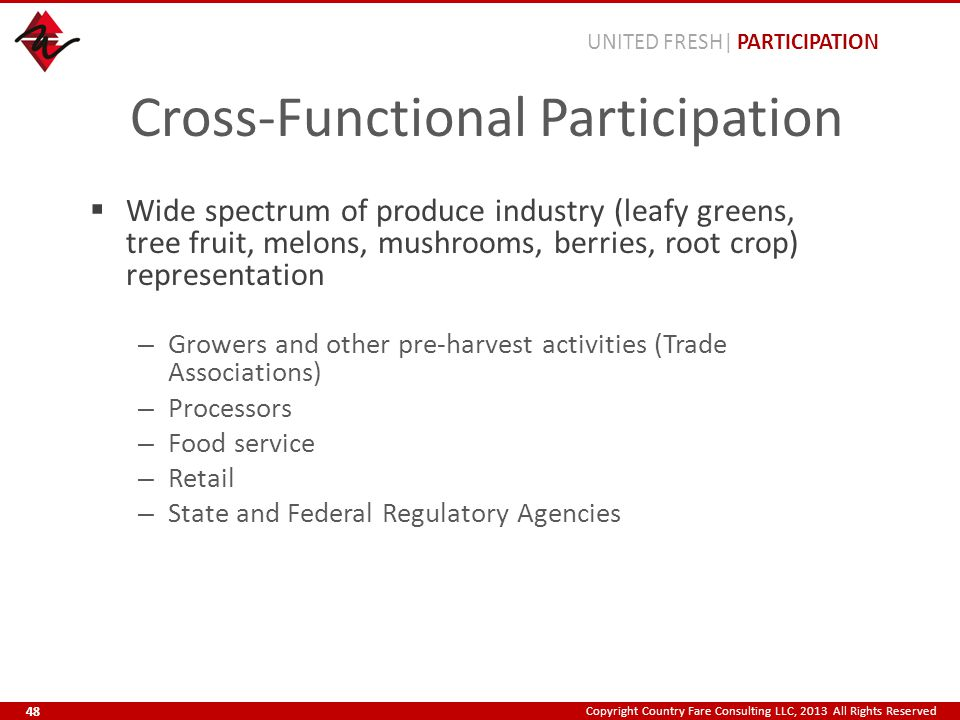 Copyright Country Fare Consulting LLC, 2013 All Rights Reserved Cross-Functional Participation  Wide spectrum of produce industry (leafy greens, tree fruit, melons, mushrooms, berries, root crop) representation – Growers and other pre-harvest activities (Trade Associations) – Processors – Food service – Retail – State and Federal Regulatory Agencies UNITED FRESH| PARTICIPATION 48