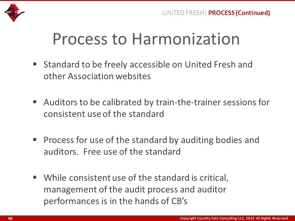 Copyright Country Fare Consulting LLC, 2013 All Rights Reserved Process to Harmonization  Standard to be freely accessible on United Fresh and other Association websites  Auditors to be calibrated by train-the-trainer sessions for consistent use of the standard  Process for use of the standard by auditing bodies and auditors.