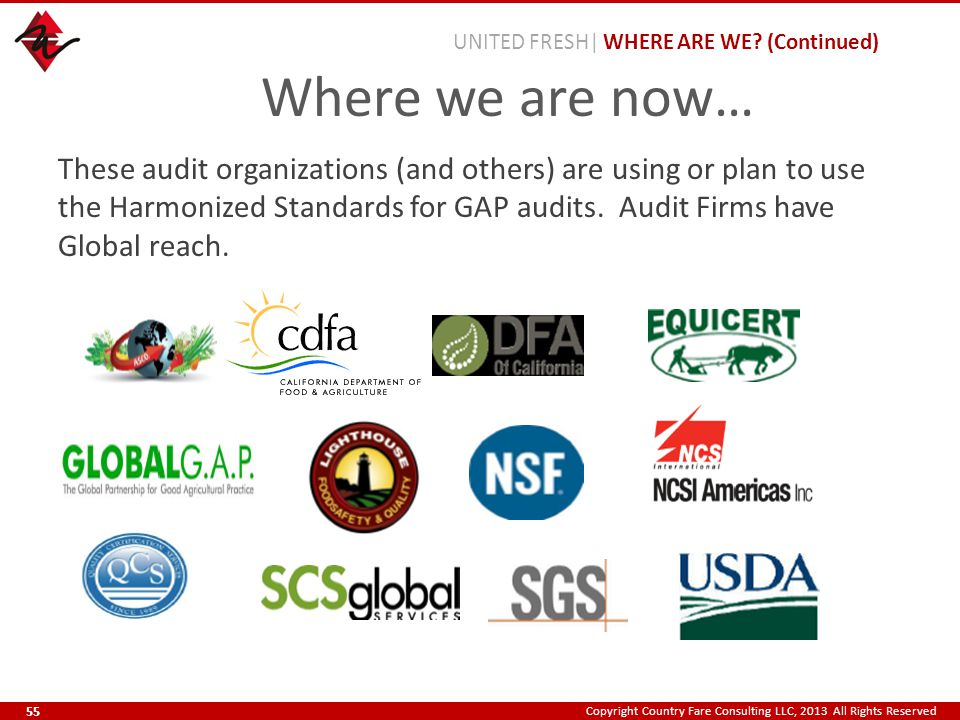 Copyright Country Fare Consulting LLC, 2013 All Rights Reserved These audit organizations (and others) are using or plan to use the Harmonized Standar
