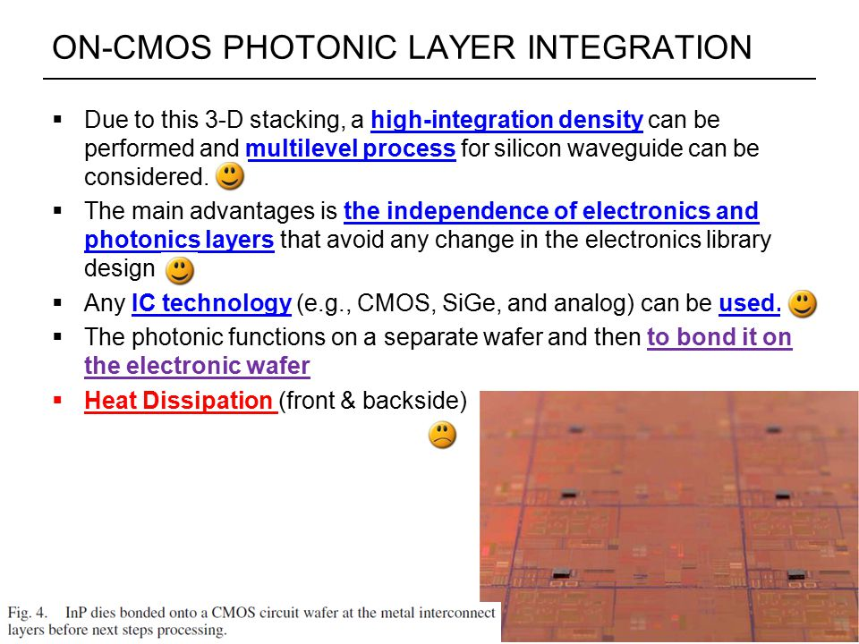 ON-CMOS PHOTONIC LAYER INTEGRATION  Due to this 3-D stacking, a high-integration density can be performed and multilevel process for silicon waveguide can be considered.