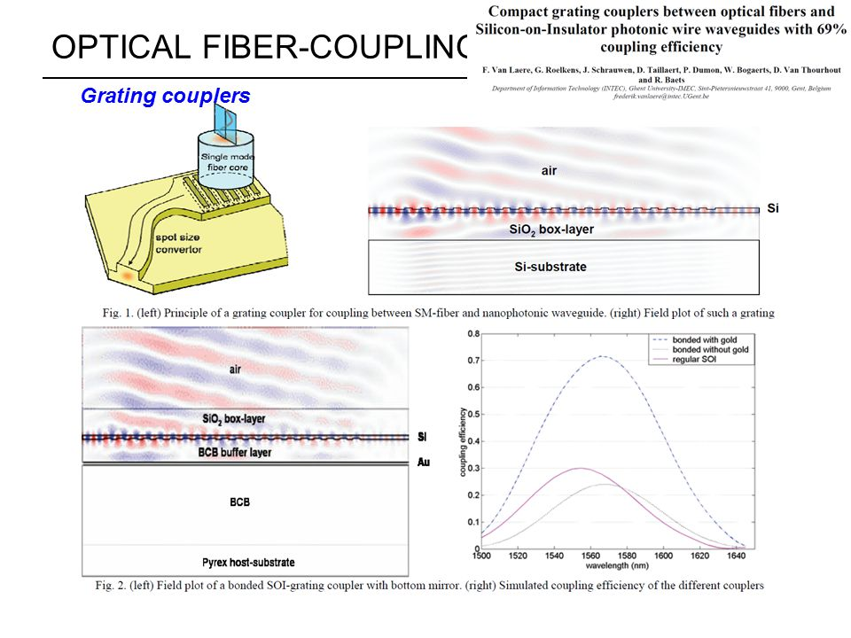 OPTICAL FIBER-COUPLING STRUCTURES Grating couplers