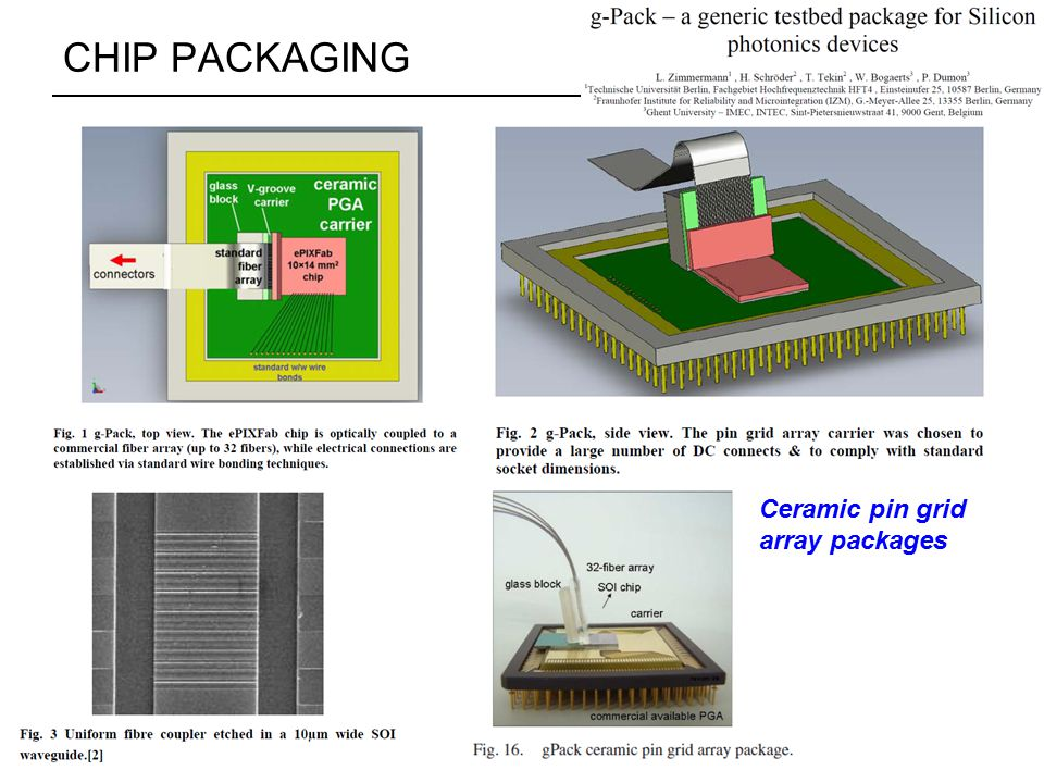 CHIP PACKAGING Ceramic pin grid array packages
