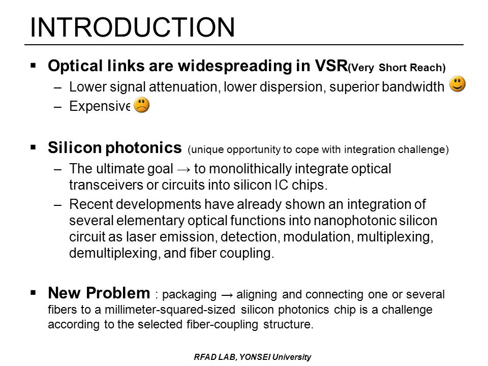 INTRODUCTION  Optical links are widespreading in VSR (Very Short Reach) –Lower signal attenuation, lower dispersion, superior bandwidth –Expensive  Silicon photonics (unique opportunity to cope with integration challenge) –The ultimate goal → to monolithically integrate optical transceivers or circuits into silicon IC chips.