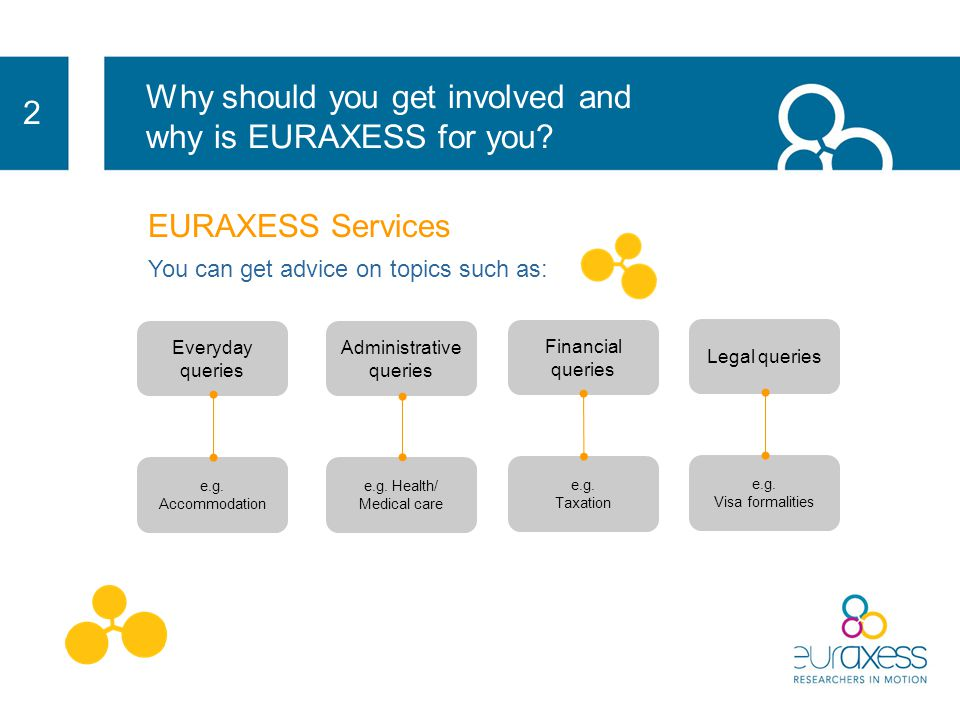 2 EURAXESS Services offers practical information that make your life easier as a Researcher: administrative issues legal issues Help for you and your family when moving from one country to another personalised assistance from a network of 500 people spread in 200 offices across Europe