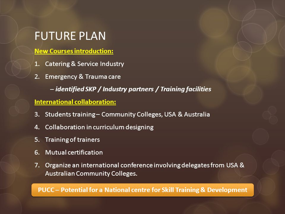 FUTURE PLAN New Courses introduction: 1.Catering & Service Industry 2.Emergency & Trauma care – identified SKP / Industry partners / Training facilities International collaboration: 3.Students training – Community Colleges, USA & Australia 4.Collaboration in curriculum designing 5.Training of trainers 6.Mutual certification 7.Organize an international conference involving delegates from USA & Australian Community Colleges.