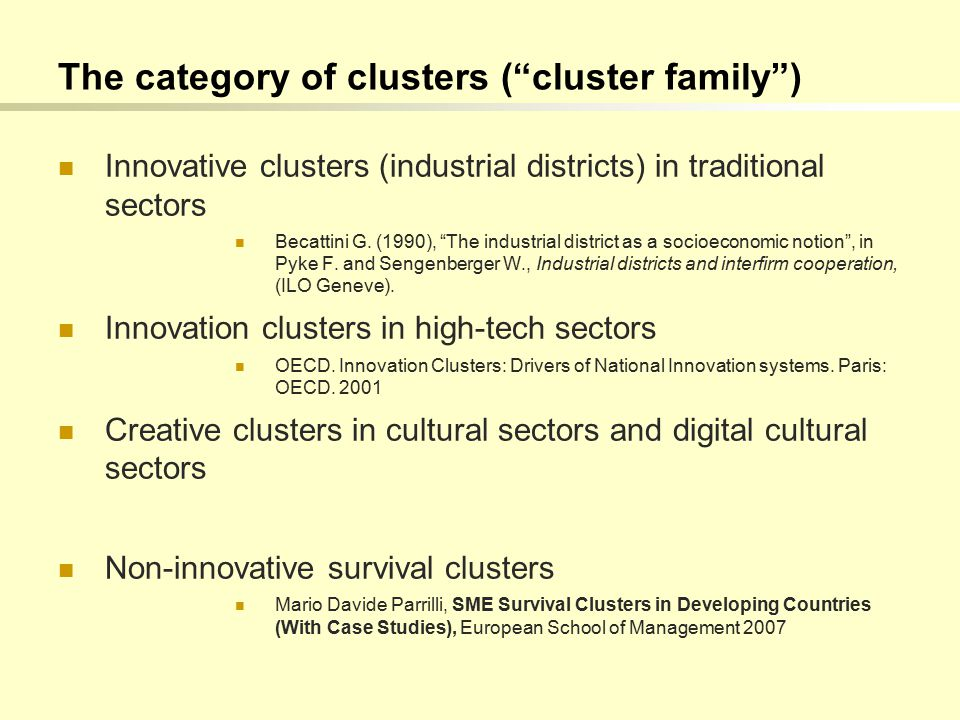 The category of clusters ( cluster family ) Innovative clusters (industrial districts) in traditional sectors Becattini G.