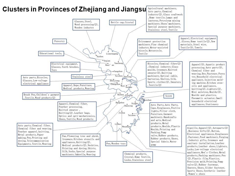22 Clusters in Provinces of Zhejiang and Jiangsu