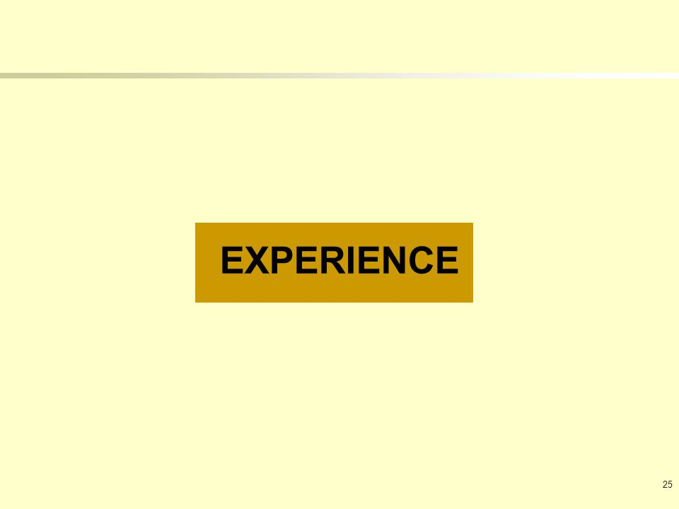 EXPERIENCE 25