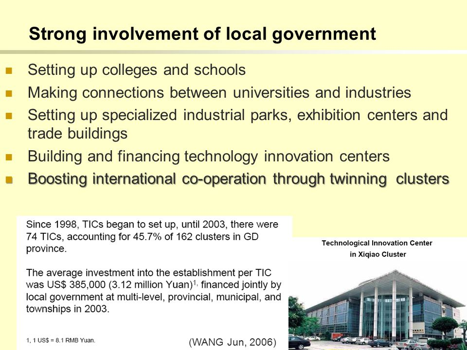 28 Strong involvement of local government Setting up colleges and schools Making connections between universities and industries Setting up specialized industrial parks, exhibition centers and trade buildings Building and financing technology innovation centers Boosting international co-operation through twinning clusters Boosting international co-operation through twinning clusters (WANG Jun, 2006)