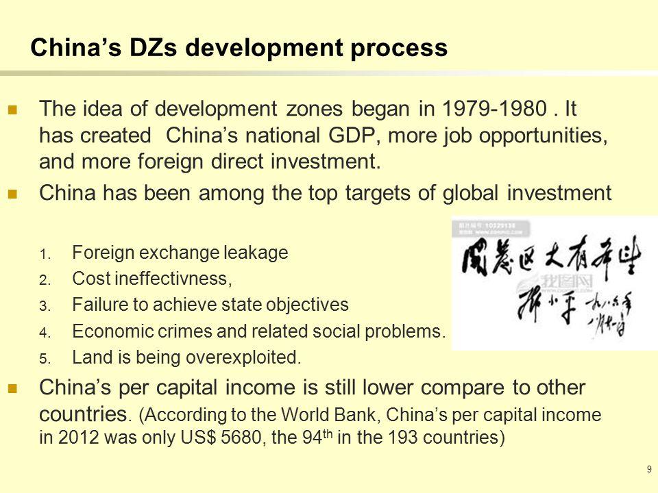 China's DZs development process The idea of development zones began in 1979-1980.