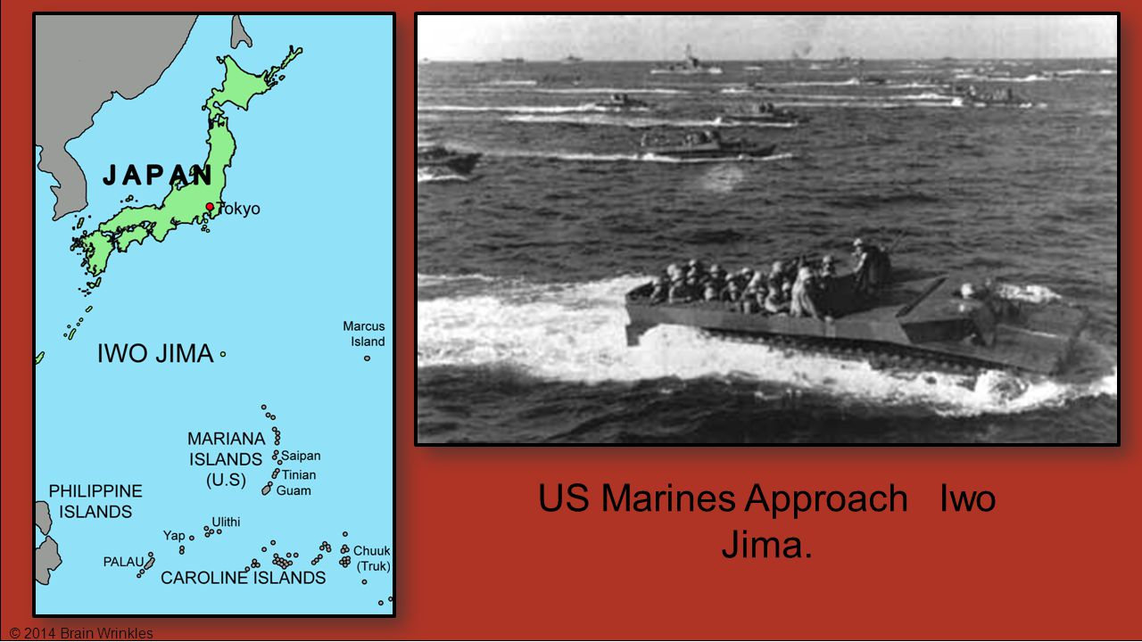 US Marines Approach Iwo Jima.