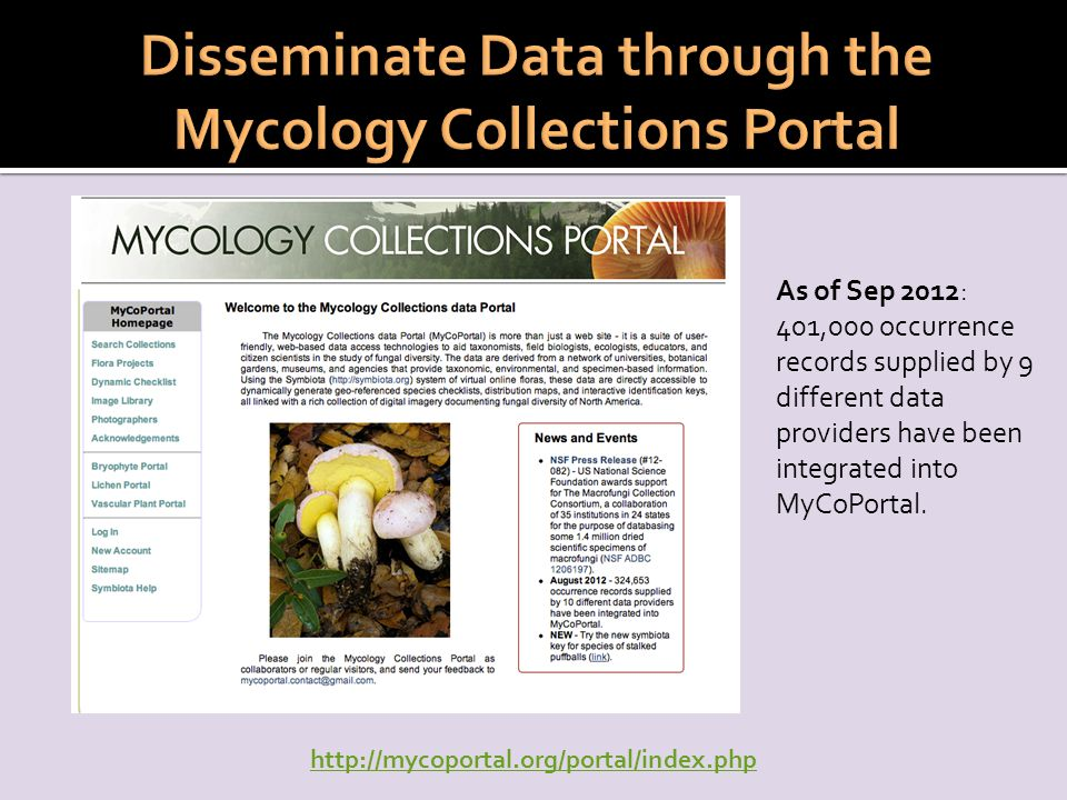 As of Sep 2012: 401,000 occurrence records supplied by 9 different data providers have been integrated into MyCoPortal.