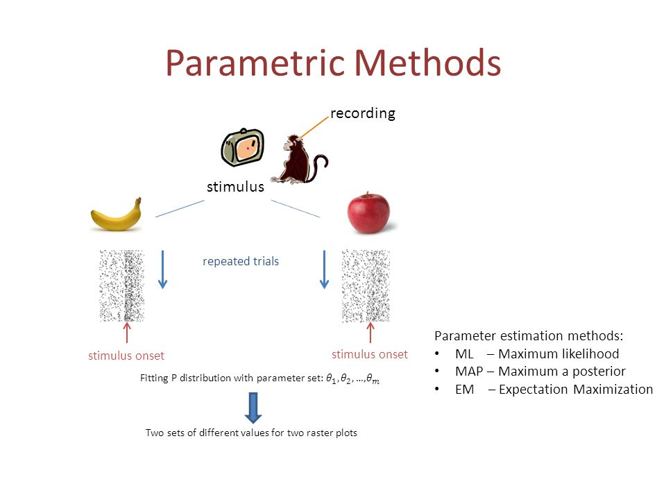 Parametric Methods recording stimulus repeated trials stimulus onset Two sets of different values for two raster plots Parameter estimation methods: M