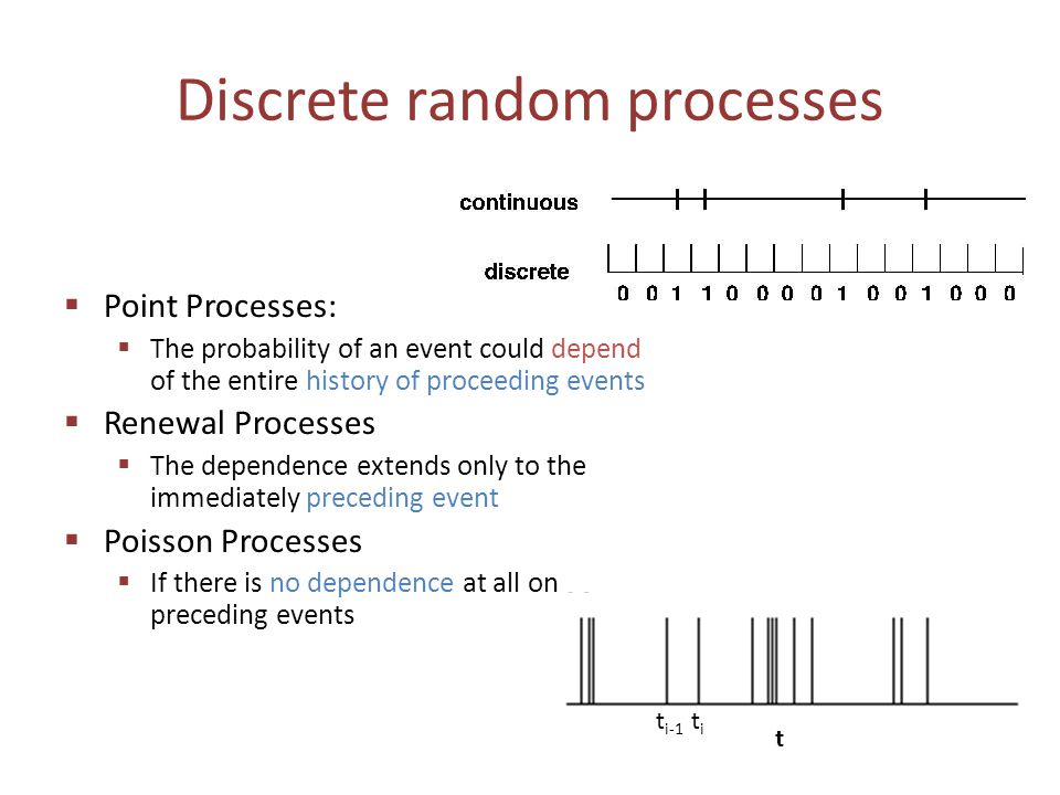 Discrete random processes  Point Processes:  The probability of an event could depend of the entire history of proceeding events  Renewal Processes  The dependence extends only to the immediately preceding event  Poisson Processes  If there is no dependence at all on preceding events t titi t i-1