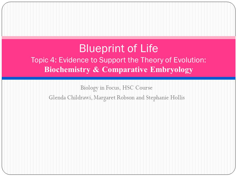 Biology in Focus, HSC Course Glenda Childrawi, Margaret Robson and Stephanie Hollis Blueprint of Life Topic 4: Evidence to Support the Theory of Evolution: Biochemistry & Comparative Embryology