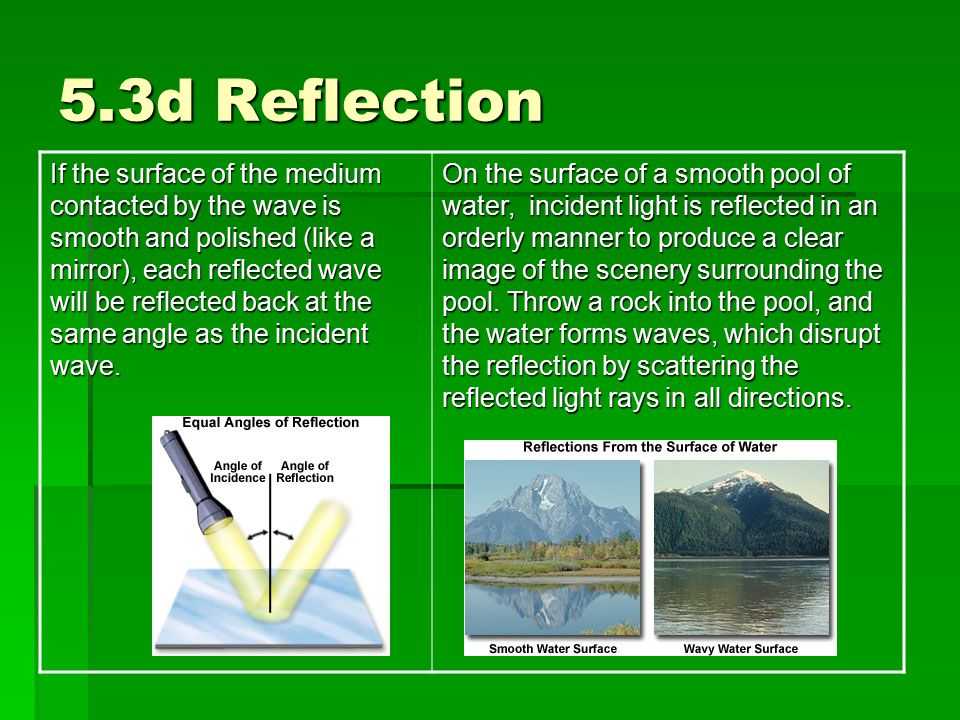 5.3d Reflection If the surface of the medium contacted by the wave is smooth and polished (like a mirror), each reflected wave will be reflected back