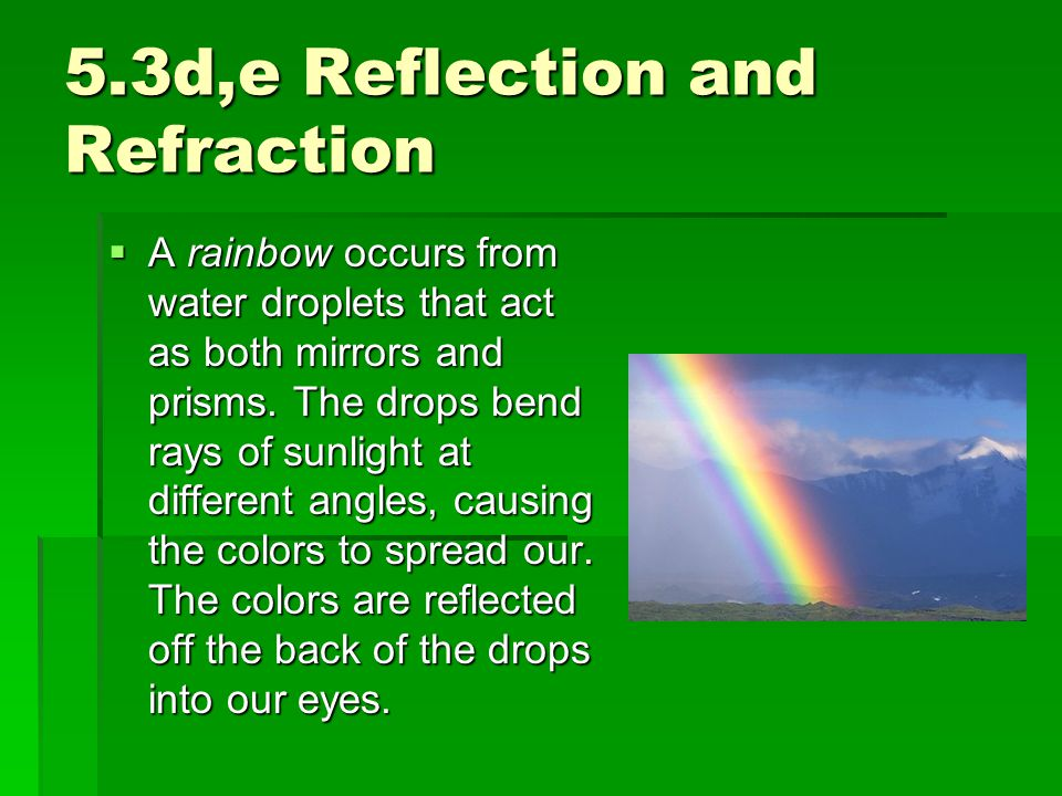 5.3d,e Reflection and Refraction  A rainbow occurs from water droplets that act as both mirrors and prisms. The drops bend rays of sunlight at differ