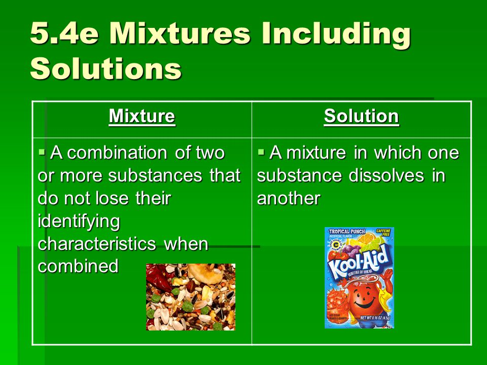 5.4e Mixtures Including Solutions MixtureSolution  A combination of two or more substances that do not lose their identifying characteristics when co