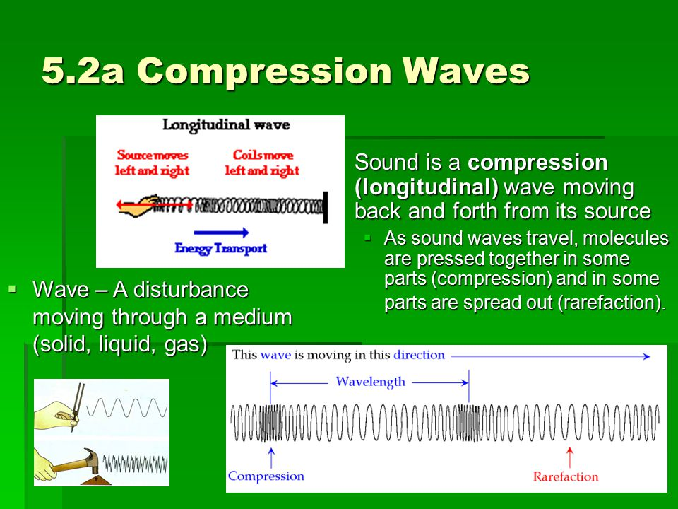 5.2a Compression Waves  Sound is a compression (longitudinal) wave moving back and forth from its source  As sound waves travel, molecules are press