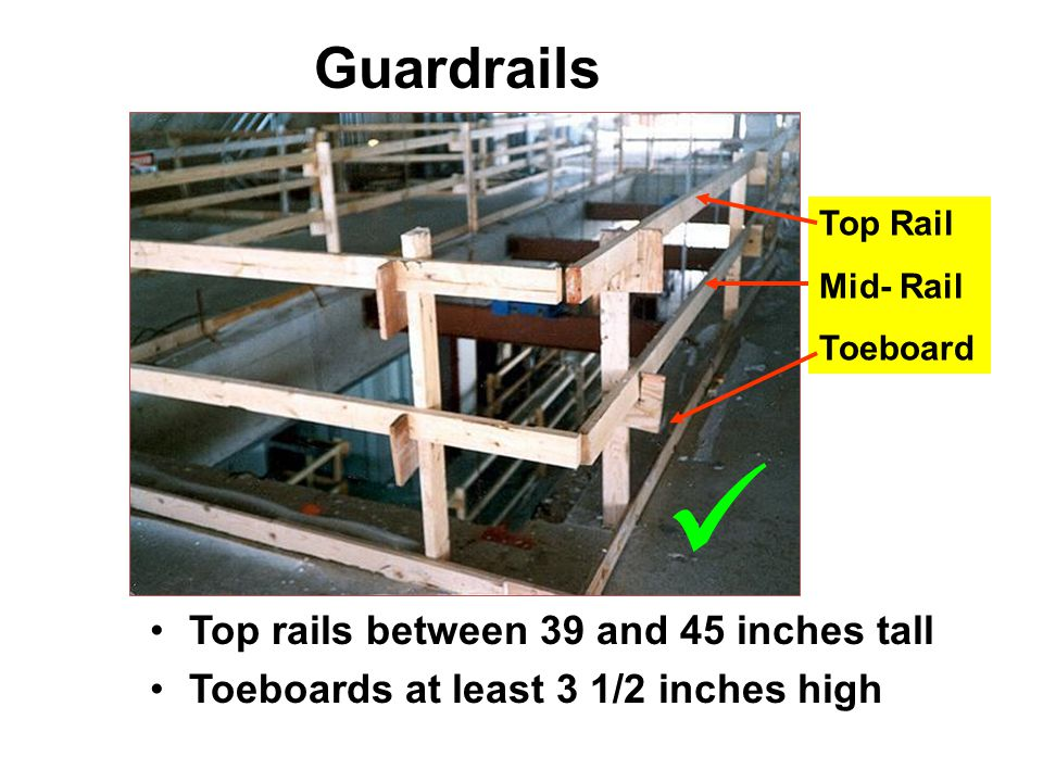 Top rails between 39 and 45 inches tall Toeboards at least 3 1/2 inches high Top Rail Mid- Rail Toeboard Guardrails