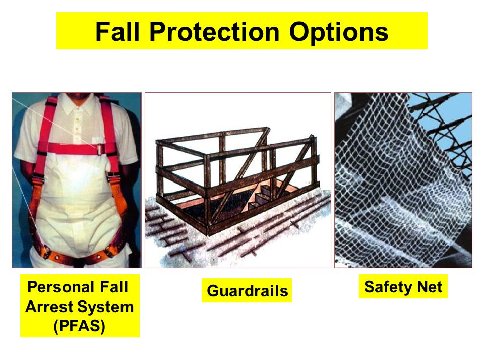 Personal Fall Arrest System (PFAS) Guardrails Safety Net Fall Protection Options