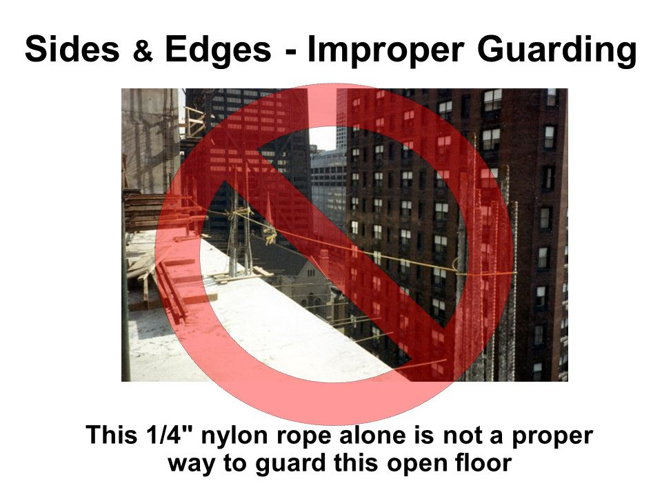 Sides & Edges - Improper Guarding This 1/4 nylon rope alone is not a proper way to guard this open floor