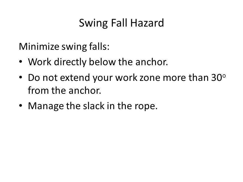 Swing Fall Hazard Minimize swing falls: Work directly below the anchor.