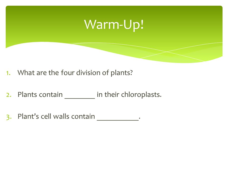 1.What are the four division of plants? 2.Plants contain ________ in their chloroplasts. 3.Plant's cell walls contain ___________. Warm-Up!