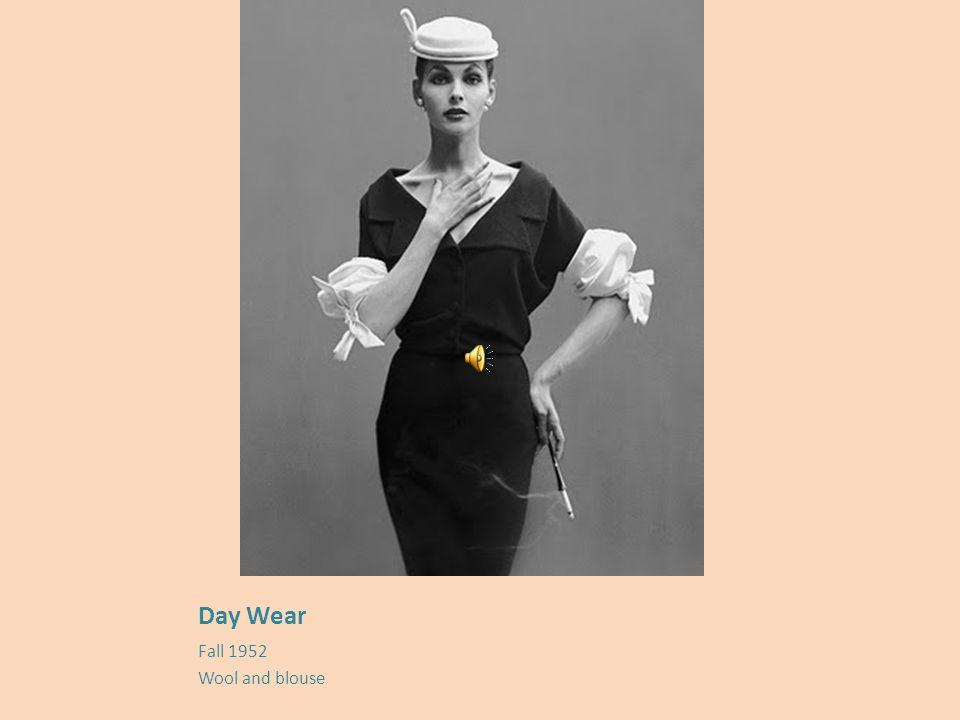 1950's : day wear, wool, (1 st ) barrel line &volume, (2 nd ) 2piece tunic dress, (3 rd ) baby doll