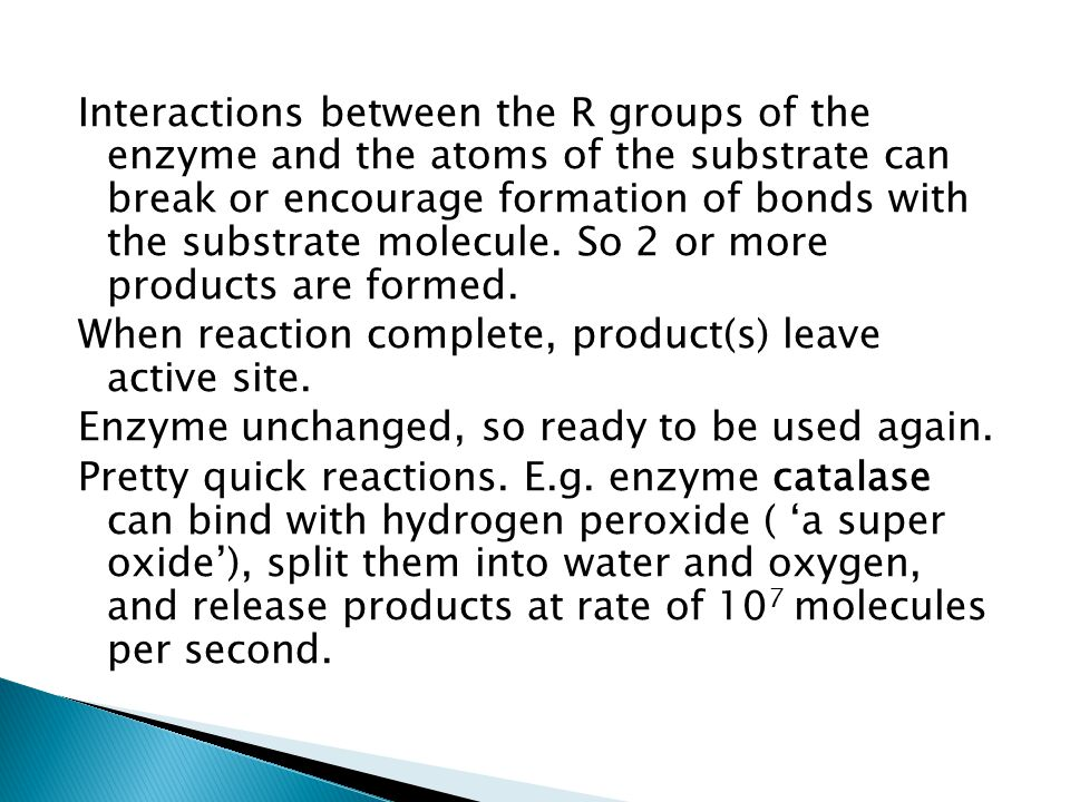 Interactions between the R groups of the enzyme and the atoms of the substrate can break or encourage formation of bonds with the substrate molecule.