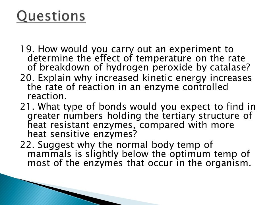 19. How would you carry out an experiment to determine the effect of temperature on the rate of breakdown of hydrogen peroxide by catalase? 20. Explai