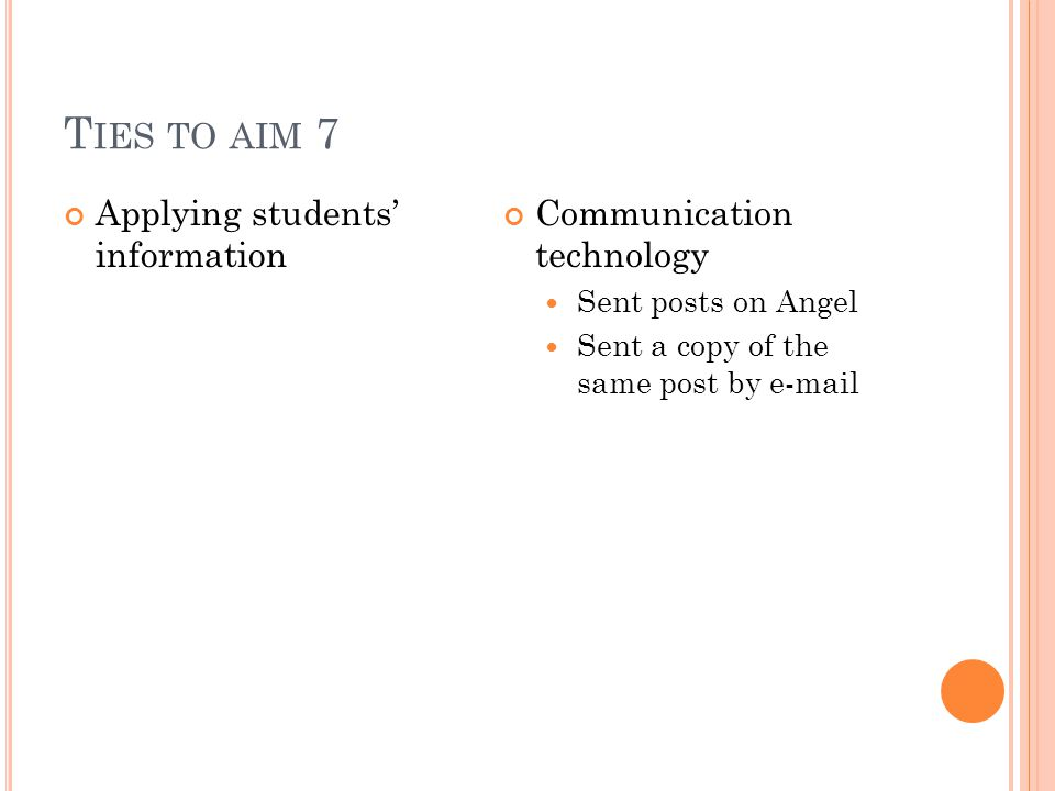 T IES TO AIM 7 Applying students' information Communication technology Sent posts on Angel Sent a copy of the same post by e-mail
