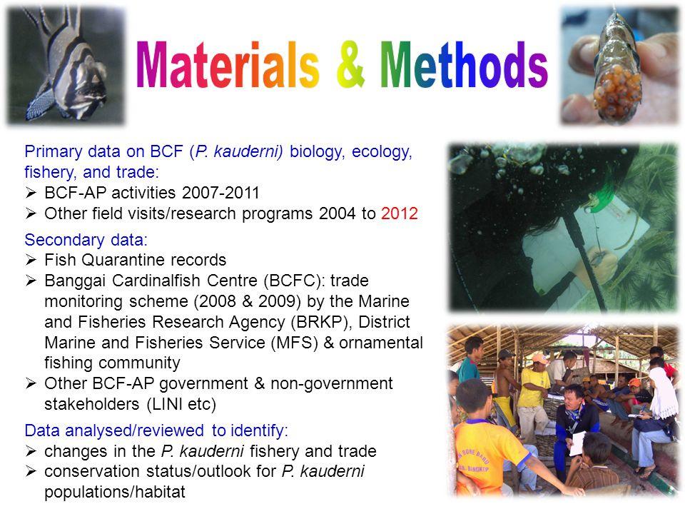 Primary data on BCF (P.