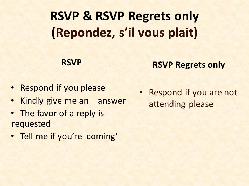 RSVP & RSVP Regrets only (Repondez, s'il vous plait) RSVP Respond if you please Kindly give me an answer The favor of a reply is requested Tell me if
